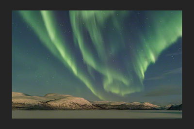 Auroras over Fells in Lapland