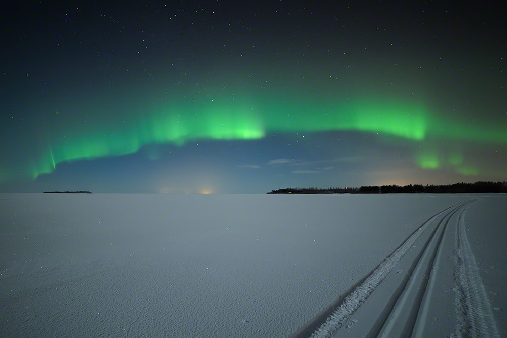 Auroras above the frozen Sea