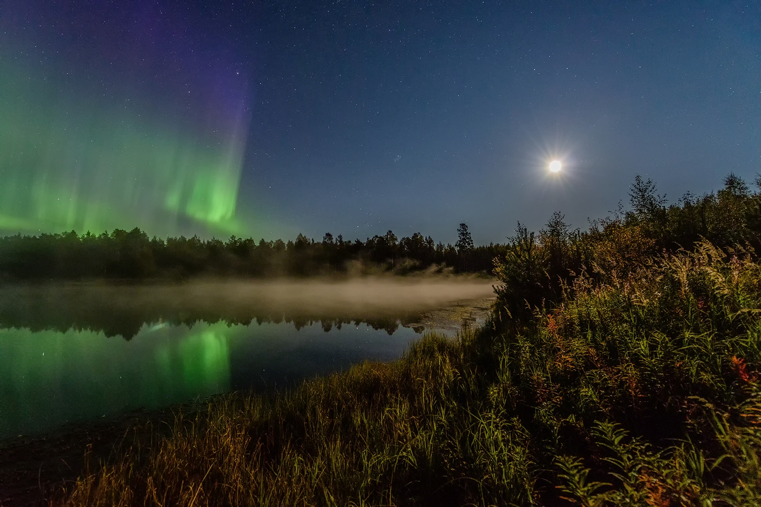 Autumn auroras in moonlight