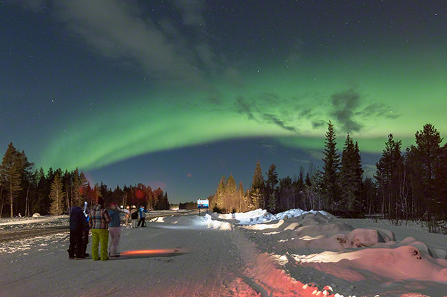 First auroras not far from the airport