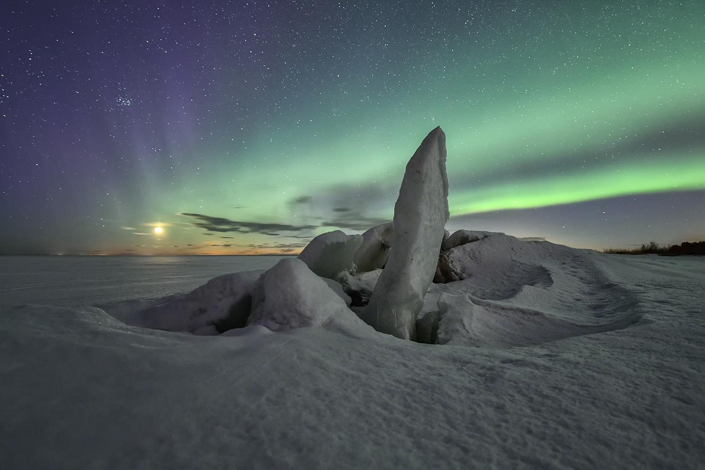 Ice formations under auroras