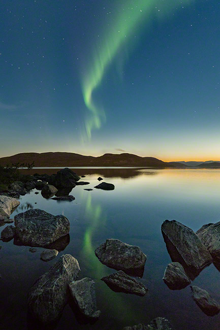 Double aurora above and in the lake
