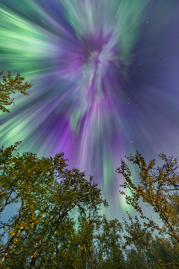 colors of lapland autumn aurora explosion