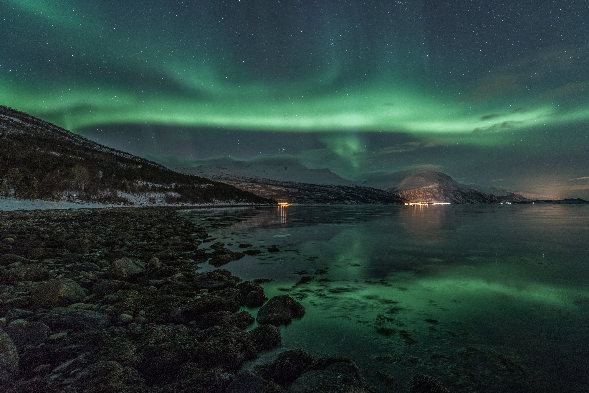 Afternoon auroras in the polar night in Lapland