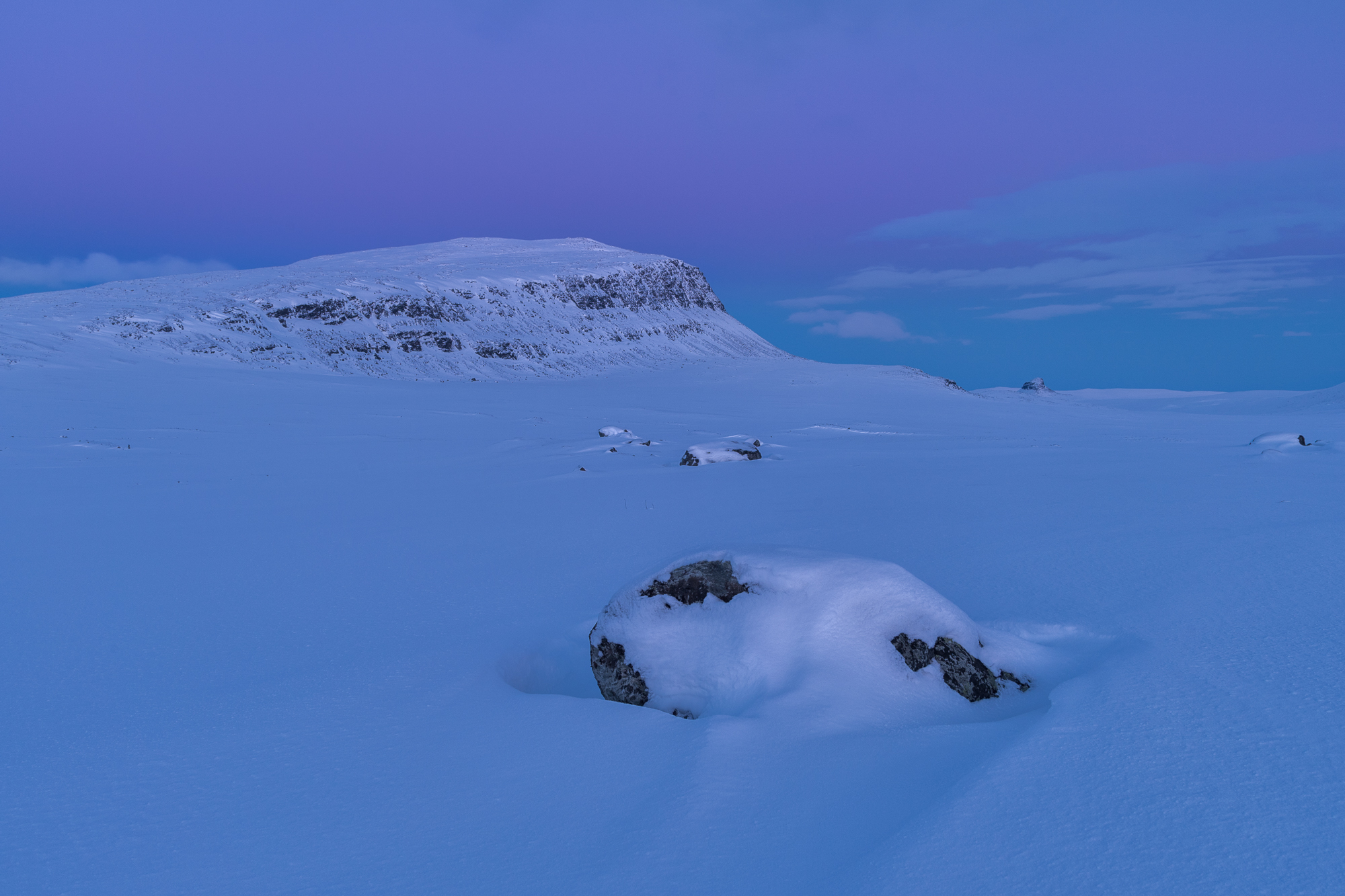 Blue moment at a fell in Lapland