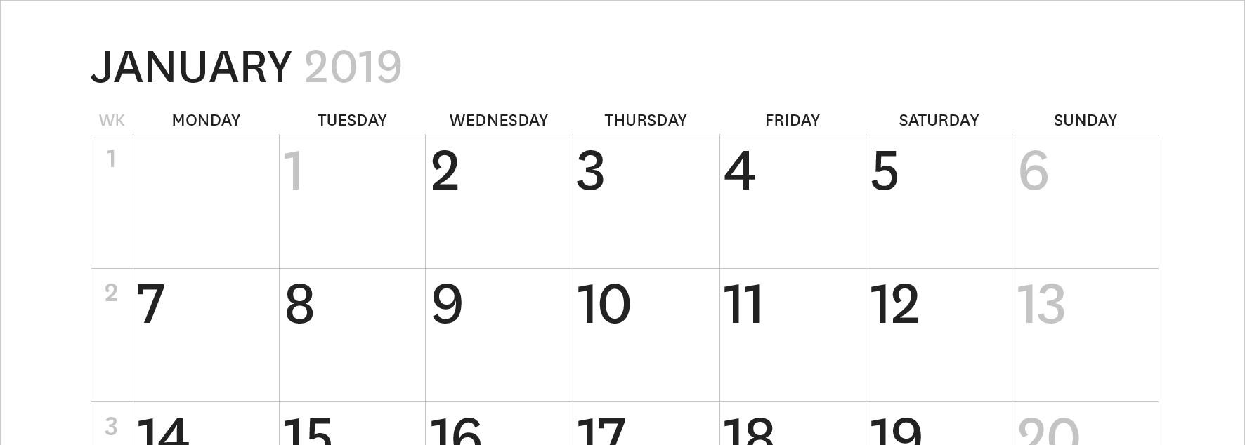 Wall calendar 2019 back
