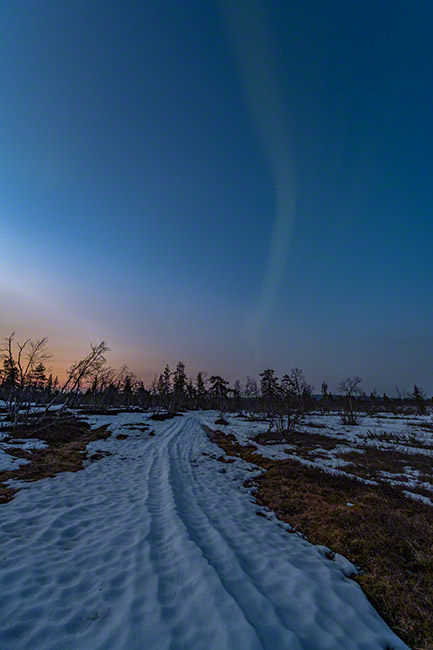 Last northern lights of the season in Lapland