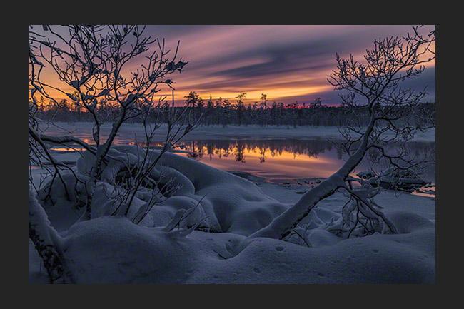 Last daylight in winter paradise