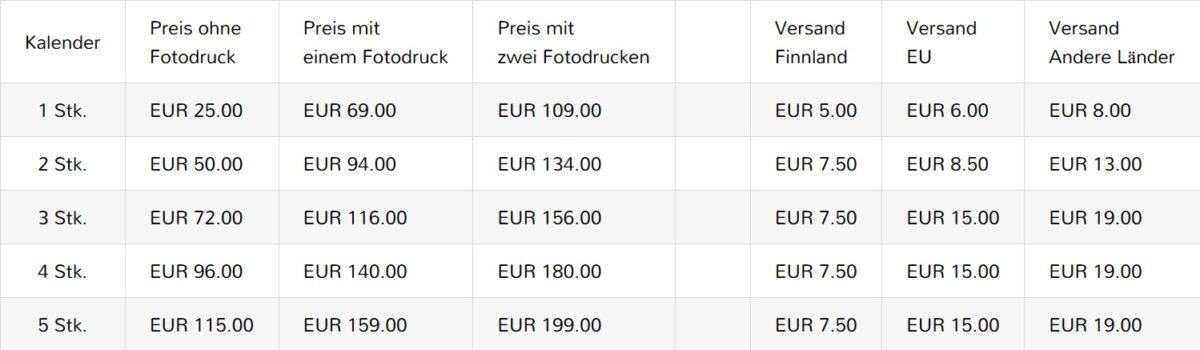 Kalenderpreise auf deutsch
