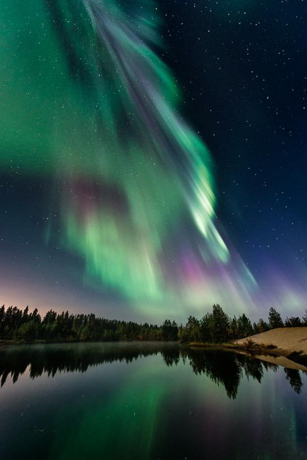 Aurora above a lake